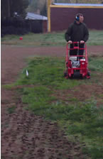aerating the baseball field