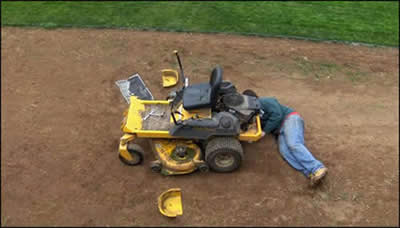 fixing broken riding mower