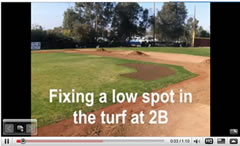 fixl a low spot on a baseball infield