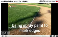 marking with spray paint for edging a field