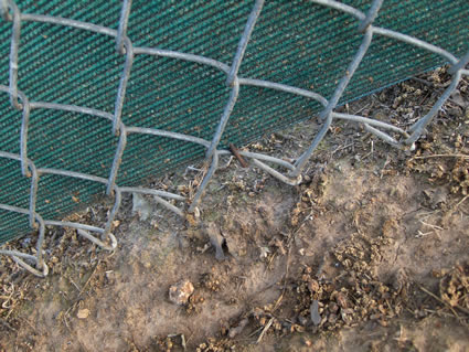baseball fence screen anchored down